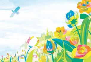 空と花畑の写真素材 [FYI00126085]