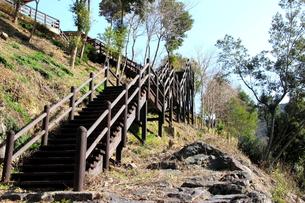 四万十川へ降りる階段の写真素材 [FYI00127391]