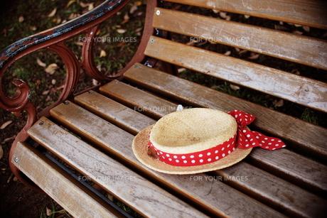 ベンチとカンカン帽の素材 [FYI00128430]