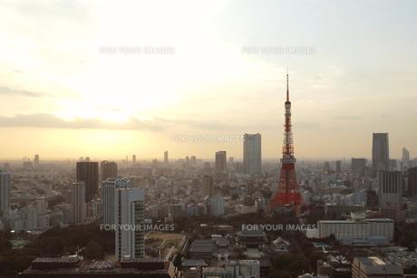 黄昏時の東京の街の素材 [FYI00128433]