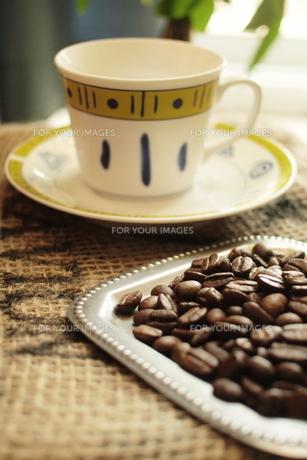 コーヒー豆とコーヒーカップの素材 [FYI00128483]
