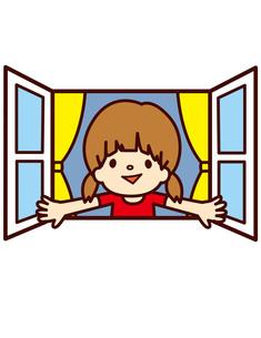 窓を開ける女性の写真素材 [FYI00128850]
