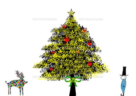 モミの木の下でカラフルなトナカイに出会う子供の素材 [FYI00128939]