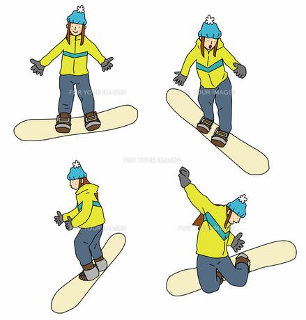 スノーボードを楽しむ女性の写真素材 [FYI00131647]