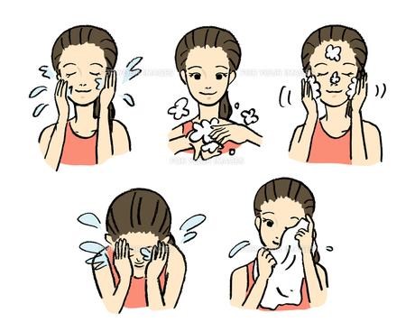 洗顔の手順の写真素材 [FYI00131652]