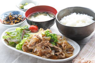生姜焼き定食の写真素材 [FYI00133561]