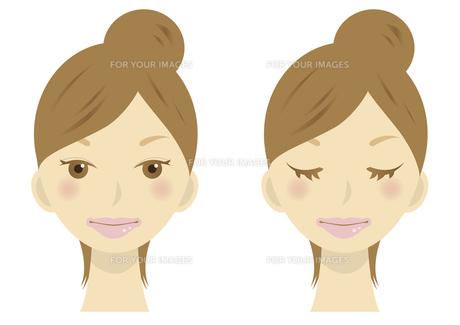 女性の顔のイラストの写真素材 [FYI00133564]