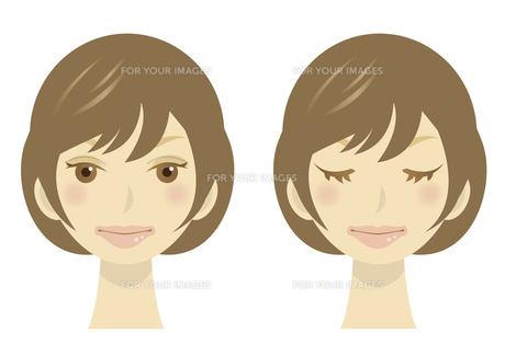 女性の顔のイラストの写真素材 [FYI00133565]