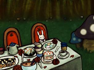 お茶会のうさぎの写真素材 [FYI00133590]