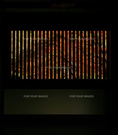 格子窓からのぞく紅葉の素材 [FYI00133635]