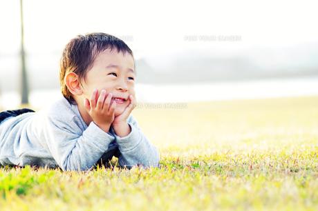 芝生で微笑む男の子の素材 [FYI00134569]