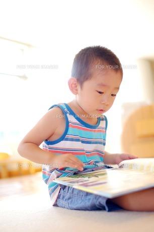 絵本を読む男の子2の写真素材 [FYI00134593]