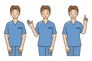 手術着の男性-3ポーズの写真素材 [FYI00136023]