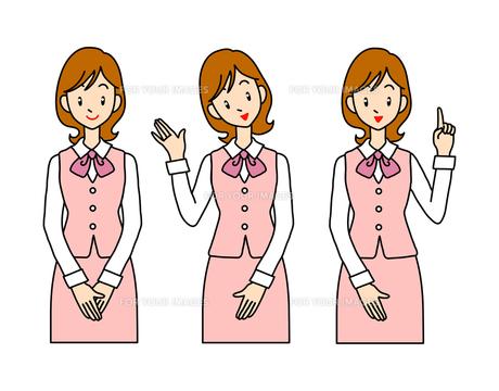 案内する若い女性-3ポーズの素材 [FYI00136047]