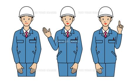 作業着の男性-3ポーズの素材 [FYI00136048]