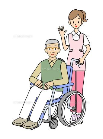 介護士と車イスのおじいさんの写真素材 [FYI00136049]