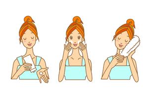 洗顔する女性の3ポーズの写真素材 [FYI00136077]
