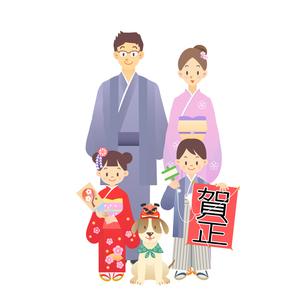家族 正月 和服の写真素材 [FYI00136218]