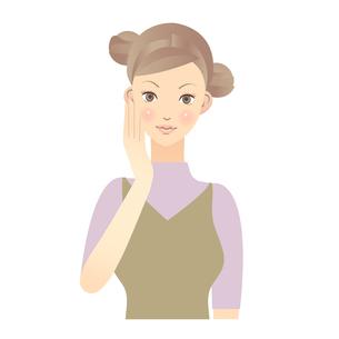女性 顔 イラストの写真素材 [FYI00136231]
