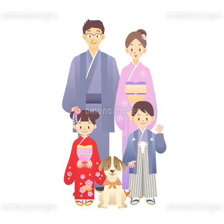 家族 正月 和服の素材 [FYI00136235]