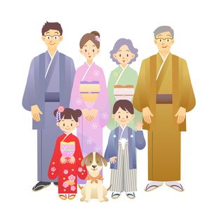 家族 正月 和服の写真素材 [FYI00136244]