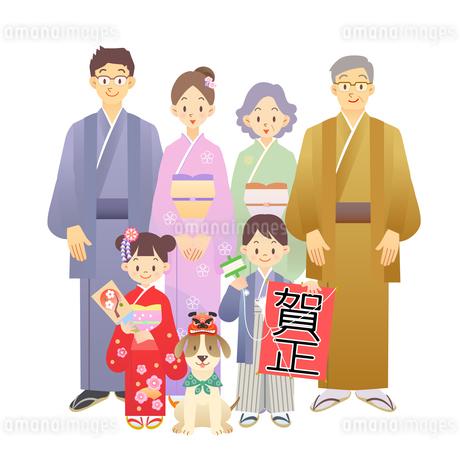 家族 正月 和服の素材 [FYI00136248]