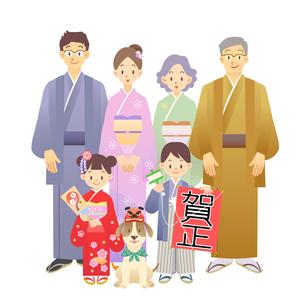 家族 正月 和服の写真素材 [FYI00136248]