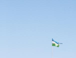 ウズベキスタンの旗の写真素材 [FYI00136281]