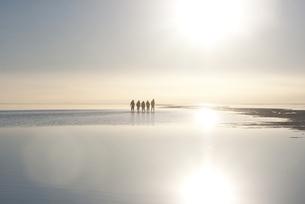 ウユニ塩湖、反射する夕日の写真素材 [FYI00136300]