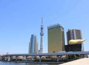 吾妻橋からの風景/春の写真素材 [FYI00138976]