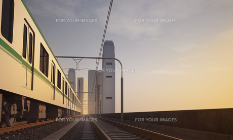 鉄道イメージ 夕景の写真素材 [FYI00139441]