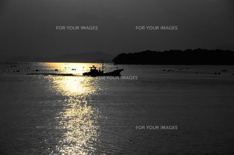 夕日の中の戻り漁船の写真素材 [FYI00140845]
