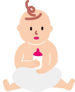 哺乳瓶を持つ赤ちゃんの素材 [FYI00142330]