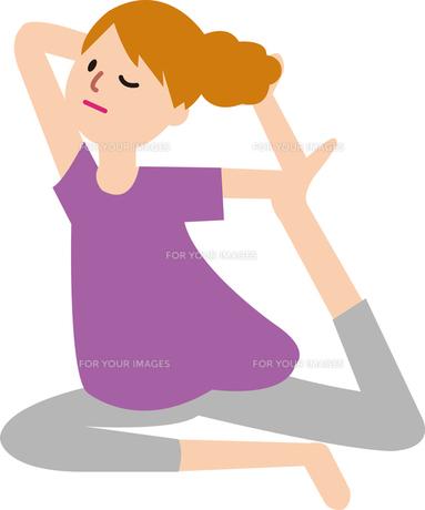 ヨガをする女性の写真素材 [FYI00142350]