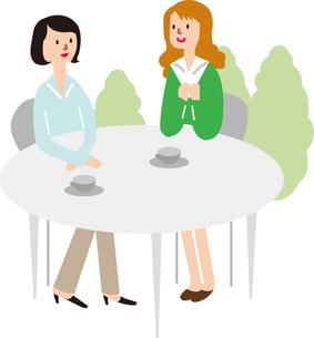 カフェで話す女性の写真素材 [FYI00142361]