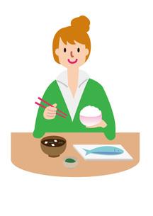 食事をする女性の写真素材 [FYI00142411]