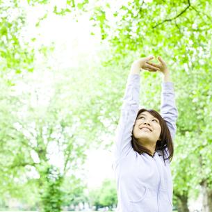 公園でストレッチする若い女性の素材 [FYI00143132]