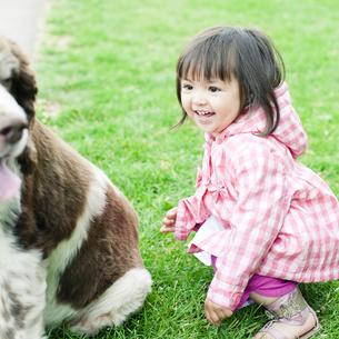 ハーフの少女と犬の素材 [FYI00143166]