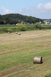 草刈後の牧草地と背景の河畔と丘と青空の写真素材 [FYI00143638]