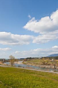 初春の川辺の風景の素材 [FYI00143902]