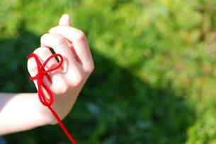 手と赤い糸左の写真素材 [FYI00144394]