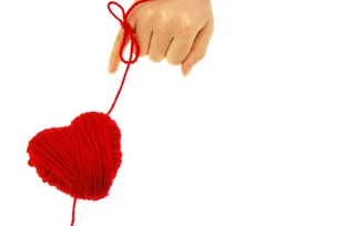 毛糸とハートの写真素材 [FYI00144445]