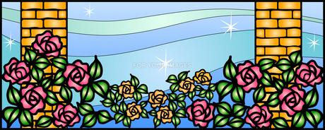 レンガ柱のあるバラ園の写真素材 [FYI00144874]