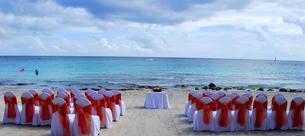 カリブ海を臨むビーチウエディングの写真素材 [FYI00145145]