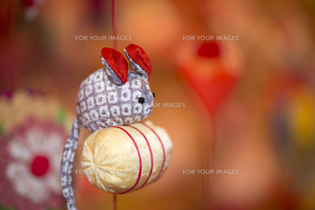 ひな祭り、つるし雛、俵とネズミの素材 [FYI00145506]
