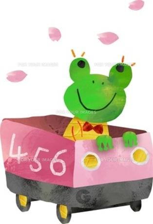 乗り物に乗って遊ぶカエルくんの素材 [FYI00146566]