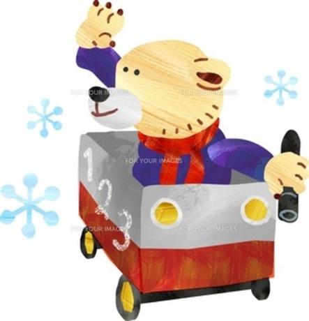 乗り物に乗って遊ぶクマくんの素材 [FYI00146567]