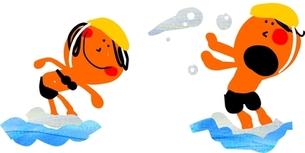 水辺で戯れる二人の幼児の写真素材 [FYI00146571]
