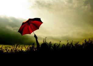 空と赤い傘の素材 [FYI00147455]