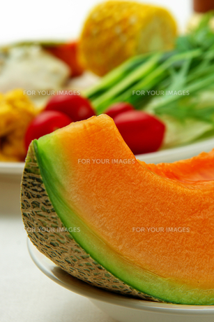 朝食のメロンの写真素材 [FYI00147547]